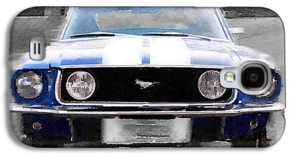 1968 Ford Mustang Front End Watercolor Galaxy S4 Case by Naxart Studio