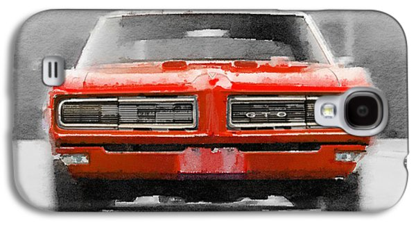 1968 Pontiac Gto Front Watercolor Galaxy S4 Case by Naxart Studio