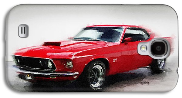 1969 Ford Mustang Watercolor Galaxy S4 Case by Naxart Studio