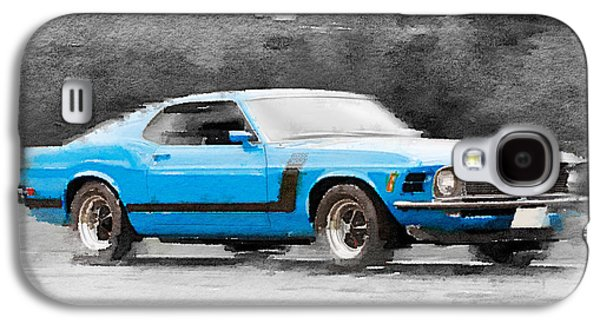 1970 Ford Mustang Boss Blue Watercolor Galaxy S4 Case by Naxart Studio