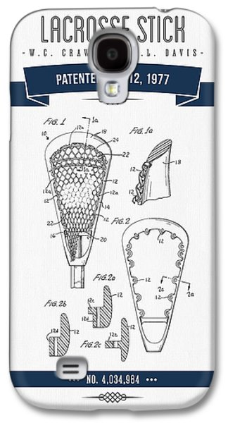 1977 Lacross Stick Patent Drawing - Retro Navy Blue Galaxy S4 Case by Aged Pixel