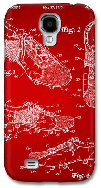 1980 Soccer Shoes Patent Artwork - Red Galaxy S4 Case by Nikki Marie Smith