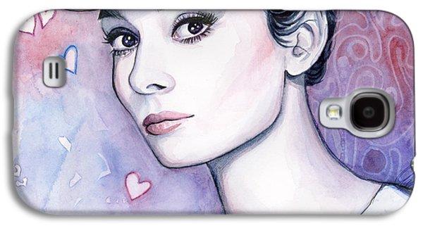 Audrey Hepburn Fashion Watercolor Galaxy S4 Case by Olga Shvartsur