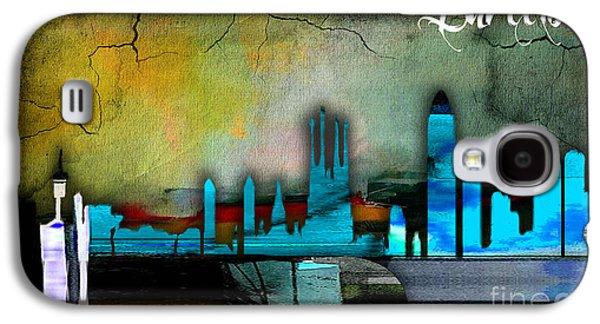 Barcelona Spain Skyline Watercolor Galaxy S4 Case