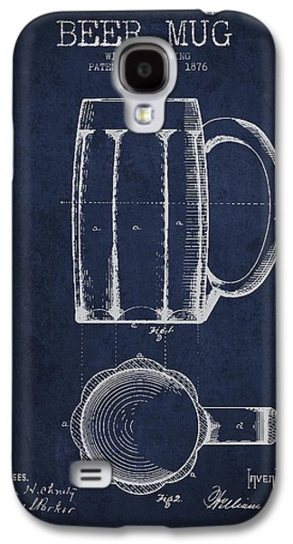 Beer Mug Patent From 1876 - Navy Blue Galaxy S4 Case by Aged Pixel