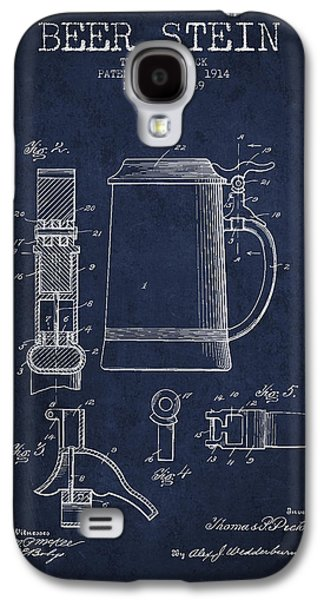 Beer Stein Patent From 1914 - Navy Blue Galaxy S4 Case by Aged Pixel