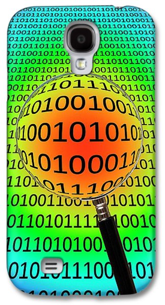 Binary Code And Magnifying Glass Galaxy S4 Case by Victor De Schwanberg