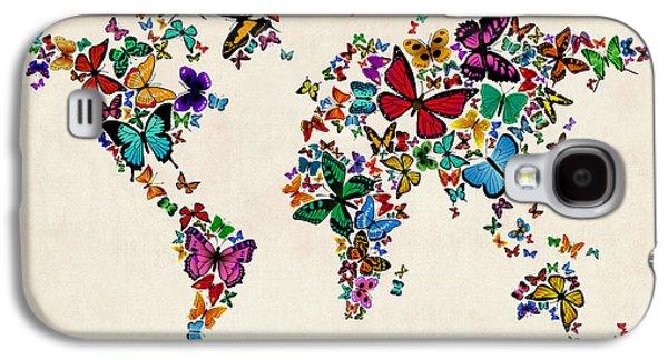 Butterflies Map Of The World Galaxy S4 Case by Michael Tompsett
