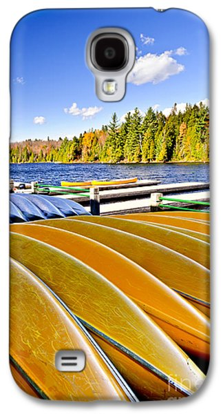 Canoes On Autumn Lake Galaxy S4 Case by Elena Elisseeva