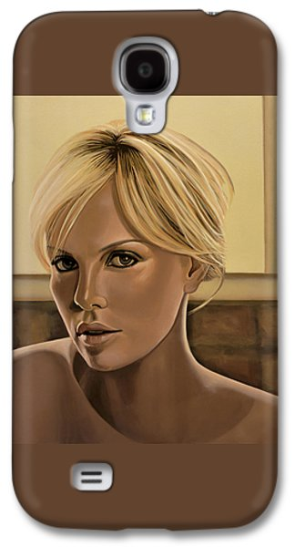 Charlize Theron Painting Galaxy S4 Case by Paul Meijering