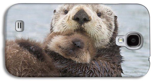 Otter Galaxy S4 Case - Female Sea Otter Holding Newborn Pup by Milo Burcham