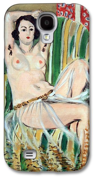 Matisse's Odalisque Seated With Arms Raised In Green Striped Chair Galaxy S4 Case by Cora Wandel