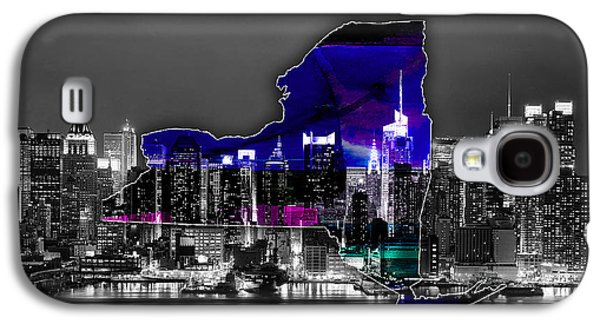 New York Map And Skyline Watercolor Galaxy S4 Case by Marvin Blaine