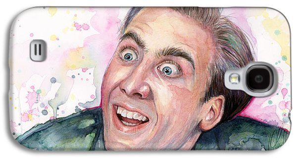 Nicolas Cage You Don't Say Watercolor Portrait Galaxy S4 Case by Olga Shvartsur