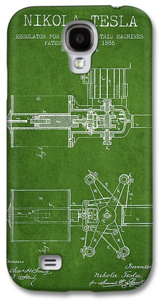 Nikola Tesla Patent Drawing From 1886 - Green Galaxy S4 Case by Aged Pixel