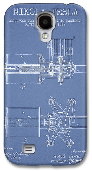 Nikola Tesla Patent Drawing From 1886 - Light Blue Galaxy S4 Case by Aged Pixel