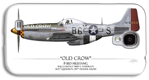 Old Crow P-51 Mustang - White Background Galaxy S4 Case by Craig Tinder