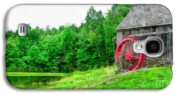 Old Grist Mill Vermont Red Water Wheel Galaxy S4 Case by Edward Fielding