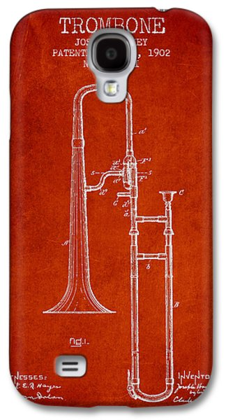 Trombone Galaxy S4 Case - Trombone Patent From 1902 - Red by Aged Pixel