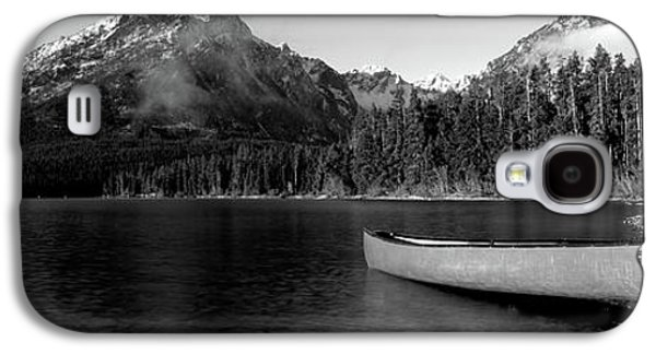 Canoe In Lake In Front Of Mountains Galaxy S4 Case by Panoramic Images