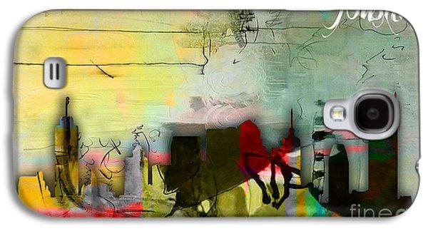 Nashville Skyline Watercolor Galaxy S4 Case by Marvin Blaine