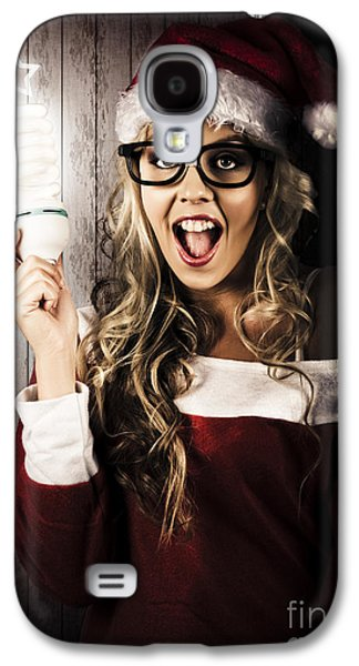 Smart Female Santa Claus With Christmas Idea Galaxy S4 Case by Jorgo Photography - Wall Art Gallery