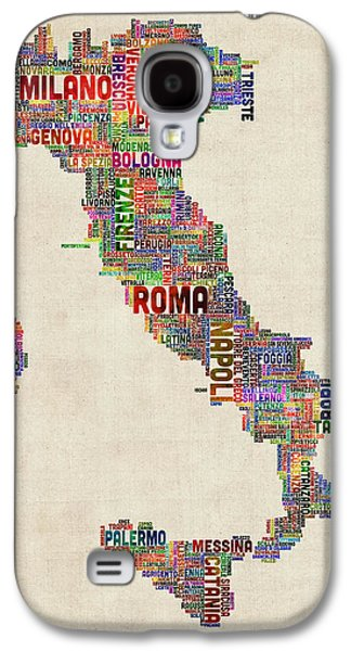 Text Map Of Italy Map Galaxy S4 Case by Michael Tompsett