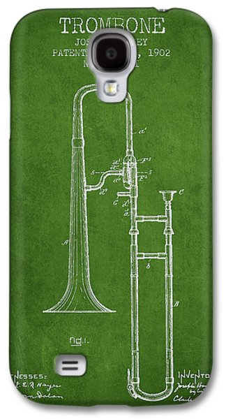 Trombone Patent From 1902 - Green Galaxy S4 Case by Aged Pixel
