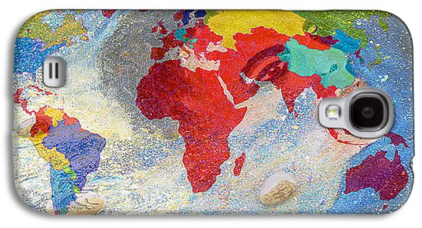 World Map And Barack Obama Stars Galaxy S4 Case by Augusta Stylianou