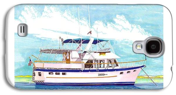 37 Foot Marine Trader 37 Trawler Yacht At Anchor Galaxy S4 Case by Jack Pumphrey