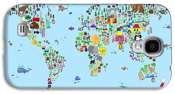Animal Map Of The World For Children And Kids Galaxy S4 Case by Michael Tompsett
