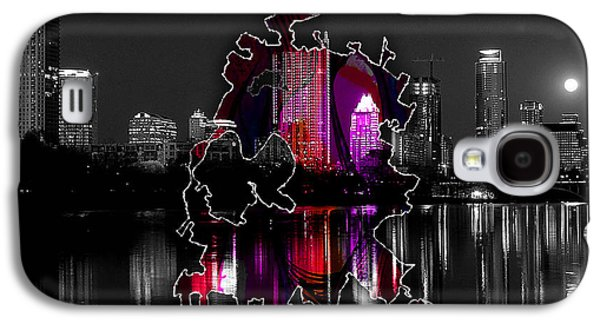 Austin Map And Skyline Watercolor Galaxy S4 Case by Marvin Blaine