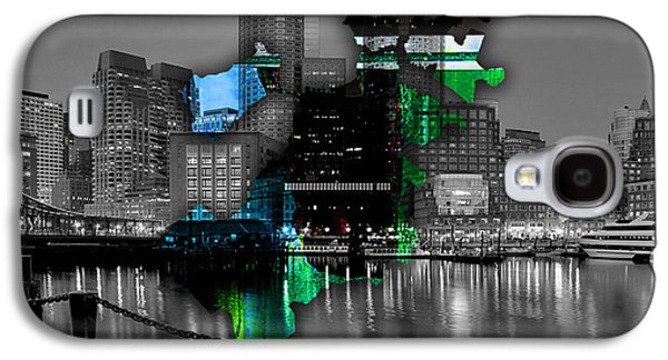 Boston Map And Skyline Watercolor Galaxy S4 Case by Marvin Blaine