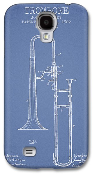 Trombone Galaxy S4 Case - Trombone Patent From 1902 - Light Blue by Aged Pixel