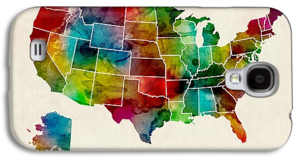 United States Watercolor Map Galaxy S4 Case by Michael Tompsett
