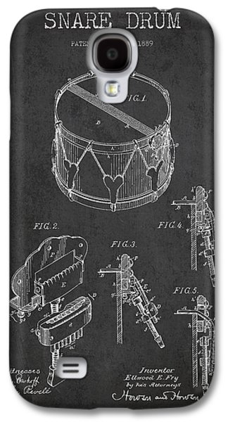Drum Galaxy S4 Case - Vintage Snare Drum Patent Drawing From 1889 - Dark by Aged Pixel