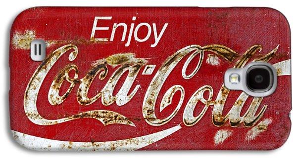 Coca Cola Vintage Rusty Sign Galaxy S4 Case by John Stephens