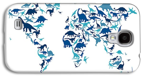 Dinosaur Map Of The World Map Galaxy S4 Case by Michael Tompsett