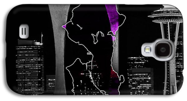 Seattle Map And Skyline Watercolor Galaxy S4 Case by Marvin Blaine