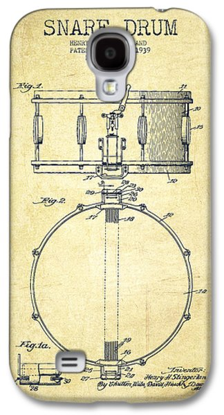 Drum Galaxy S4 Case - Snare Drum Patent Drawing From 1939 - Vintage by Aged Pixel