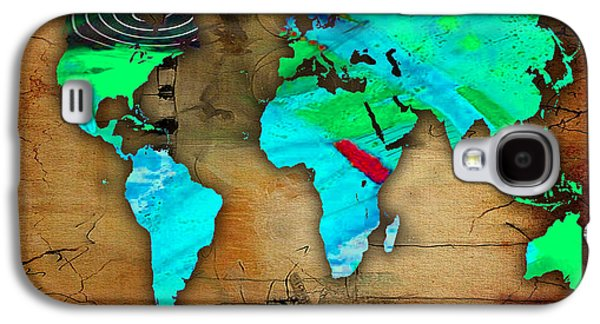 World Map Watercolor Galaxy S4 Case by Marvin Blaine