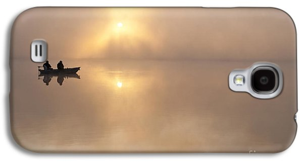 Fisherman In Boat, Lake Cassidy Galaxy S4 Case by Jim Corwin