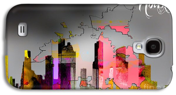 Houston Texas Map And Skyline Watercolor Galaxy S4 Case