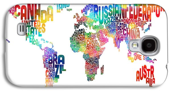 Text Map Of The World Galaxy S4 Case by Michael Tompsett
