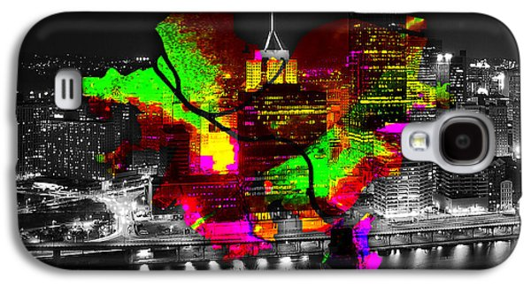 Pittsburgh Map And Skyline Watercolor Galaxy S4 Case by Marvin Blaine