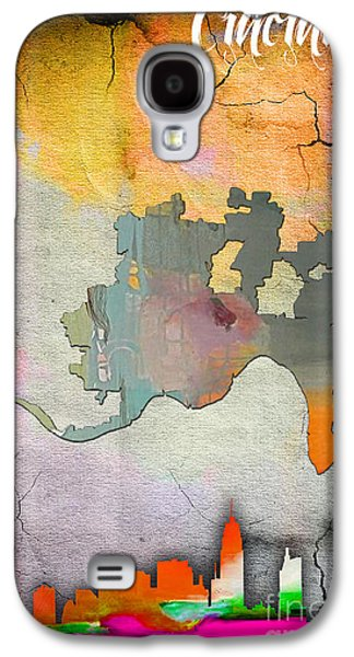 Cincinnati Map And Skyline Watercolor Galaxy S4 Case by Marvin Blaine