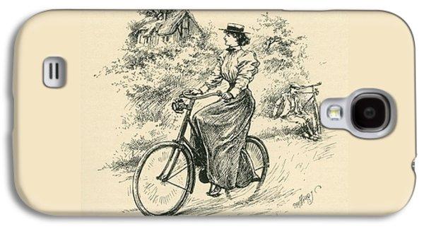 A 19th Century Female Cyclist Galaxy S4 Case by English School