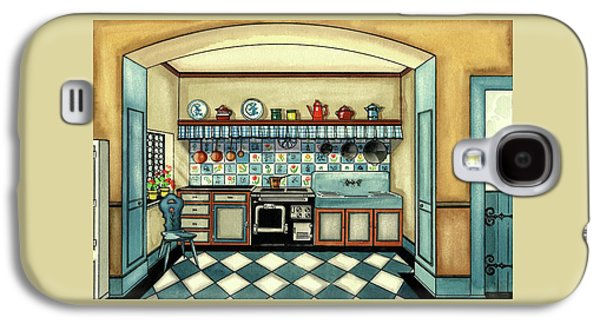 A Blue Kitchen With A Tiled Floor Galaxy S4 Case