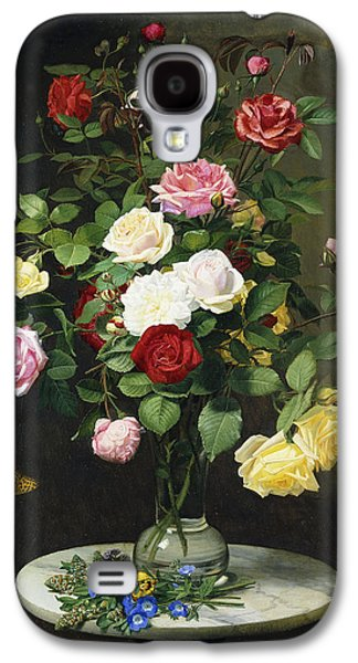 A Bouquet Of Roses In A Glass Vase By Wild Flowers On A Marble Table Galaxy S4 Case by Otto Didrik Ottesen
