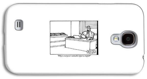 A Businessman Sits At His Desk Talking Galaxy S4 Case
